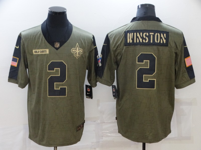 Men's New Orleans Saints #2 Jameis Winston 2021 Olive Salute To Service Limited Stitched Jersey