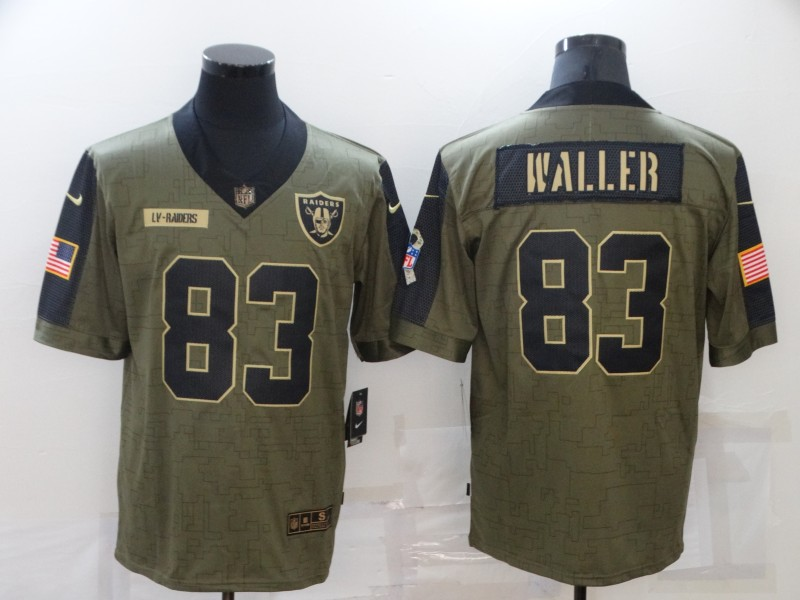 Men's Las Vegas Raiders #83 Darren Waller 2021 Olive Salute To Service Limited Stitched Jersey