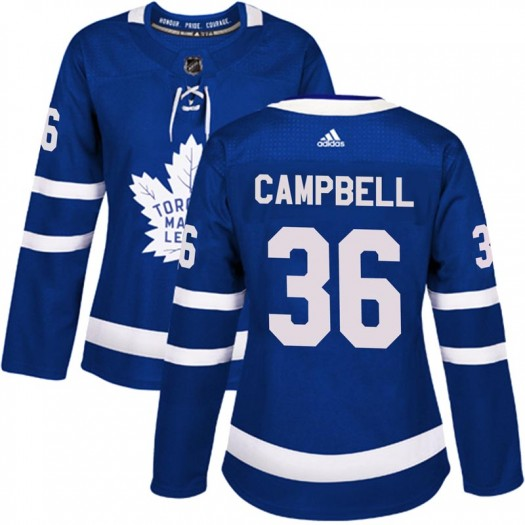 Women's Toronto Maple Leafs #36 Jack Campbell Adidas Authentic Blue Home Jersey