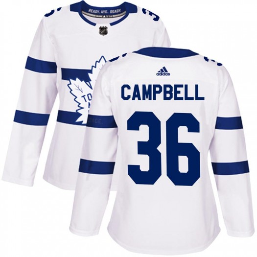 Women's Toronto Maple Leafs #36 Jack Campbell Adidas Authentic White 2018 Stadium Series Jersey