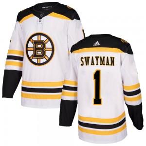 Men's Boston Bruins #1 Jeremy Swayman Adidas Authentic Away Jersey - White
