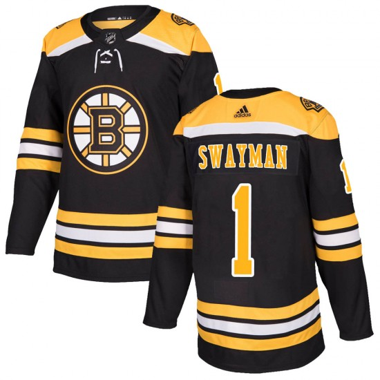 Men's Boston Bruins #1 Jeremy Swayman Adidas Authentic Home Jersey - Black