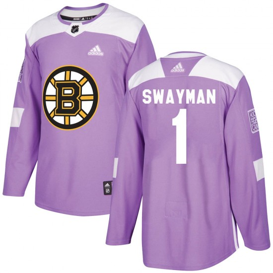 Men's Boston Bruins #1 Jeremy Swayman Adidas Authentic Fights Cancer Practice Jersey - Purple