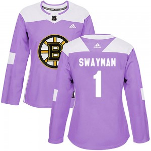 Women's Boston Bruins #1 Jeremy Swayman Adidas Authentic Fights Cancer Practice Jersey - Purple