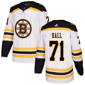 Men's Boston Bruins #71 Taylor Hall Adidas Authentic Away White Jersey