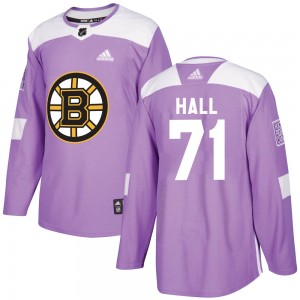 Men's Boston Bruins #71 Taylor Hall Adidas Authentic Fights Cancer Practice Purple Jersey
