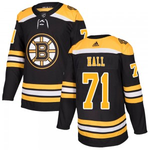 Men's Boston Bruins #71 Taylor Hall Adidas Authentic Home Black Jersey