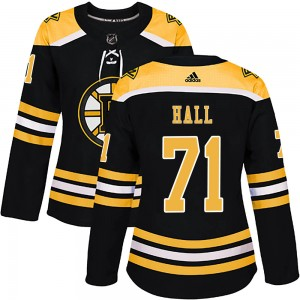 Women's Boston Bruins #71 Taylor Hall Adidas Authentic Home Jersey - Black