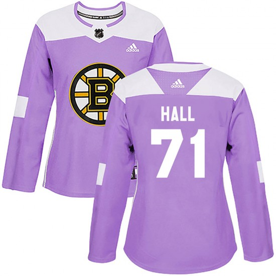 Women's Boston Bruins #71 Taylor Hall Adidas Authentic Fights Cancer Practice Jersey - Purple