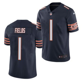 Women's Navy Chicago Bears #1 Justin Fields 2021 NFL Draft Vapor untouchable Limited Stitched Jersey