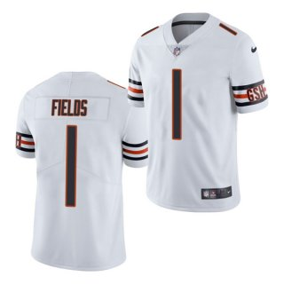 Women's White Chicago Bears #1 Justin Fields 2021 NFL Draft Vapor untouchable Limited Stitched Jersey