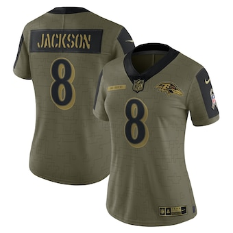 Women's Baltimore Ravens #8 Lamar Jackson Nike Olive 2021 Salute To Service Limited Player Jersey