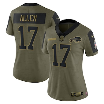 Women's Buffalo Bills #17 Josh Allen Nike Olive 2021 Salute To Service Limited Player Jersey