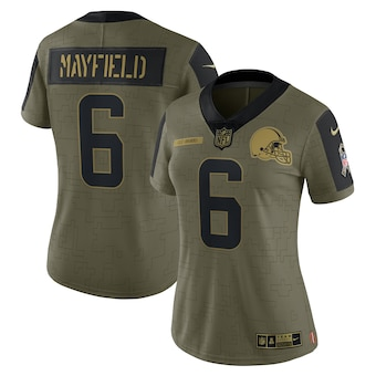 Women's Cleveland Browns #6 Baker Mayfield Nike Olive 2021 Salute To Service Limited Player Jersey