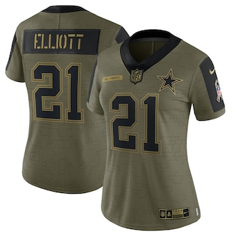 Women's Dallas Cowboys #21 Ezekiel Elliott Nike Olive 2021 Salute To Service Limited Player Jersey