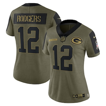 Women's Green Bay Packers #12 Aaron Rodgers Nike Olive 2021 Salute To Service Limited Player Jersey