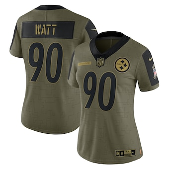 Women's Pittsburgh Steelers #90 T.J. Watt Nike Olive 2021 Salute To Service Limited Player Jersey