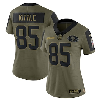 Women's San Francisco 49ers #85 George Kittle Nike Olive 2021 Salute To Service Limited Player Jersey
