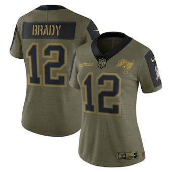 Women's Tampa Bay Buccaneers #12 Tom Brady Nike Olive 2021 Salute To Service Limited Player Jersey