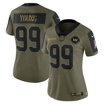 Women's Washington Football Team #99 Chase Young Nike Olive 2021 Salute To Service Limited Player Jersey