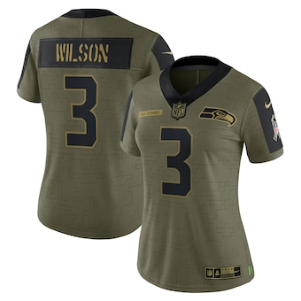 Women's Seattle Seahawks #3 Russell Wilson Nike Olive 2021 Salute To Service Limited Player Jersey