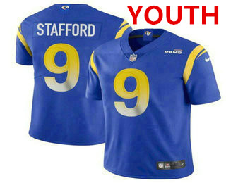 Youth Los Angeles Rams #9 Matthew Stafford Royal Blue 2021 NEW Vapor Untouchable Stitched NFL Nike Limited Jersey