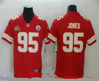 Men's Kansas City Chiefs #95 Chris Jones Red 2021 Super Bowl LV Vapor Untouchable Stitched Nike Limited NFL Jersey