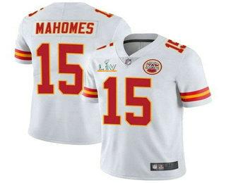 Men's Kansas City Chiefs #15 Patrick Mahomes White 2021 Super Bowl LV Vapor Untouchable Stitched Nike Limited NFL Jersey