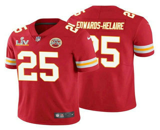 Men's Kansas City Chiefs #25 Clyde Edwards-Helaire Red 2021 Super Bowl LV Vapor Untouchable Stitched Nike Limited NFL Jersey