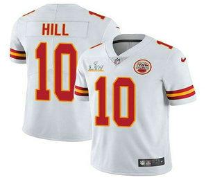 Men's Kansas City Chiefs #10 Tyreek Hill White 2021 Super Bowl LV Vapor Untouchable Stitched Nike Limited NFL Jersey