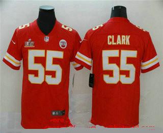 Men's Kansas City Chiefs #55 Frank Clark Red 2021 Super Bowl LV Vapor Untouchable Stitched Nike Limited NFL Jersey