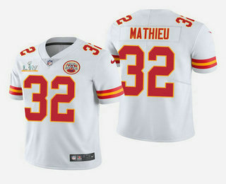 Men's Kansas City Chiefs #32 Tyrann Mathieu White 2021 Super Bowl LV Vapor Untouchable Stitched Nike Limited NFL Jersey
