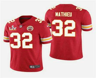 Men's Kansas City Chiefs #32 Tyrann Mathieu Red 2021 Super Bowl LV Vapor Untouchable Stitched Nike Limited NFL Jersey