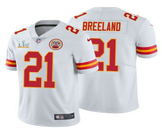 Men's Kansas City Chiefs #21 Bashaud Breeland White 2021 Super Bowl LV Limited Stitched NFL Jersey