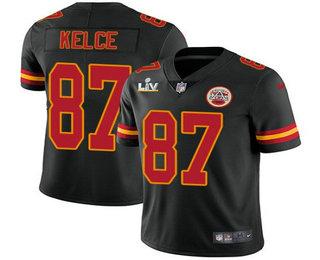 Men's Kansas City Chiefs #87 Travis Kelce Black 2021 Super Bowl LV Vapor Untouchable Stitched Nike Limited NFL Jersey