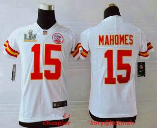 Youth Kansas City Chiefs #15 Patrick Mahomes White 2021 Super Bowl LV Vapor Untouchable Stitched Nike Limited NFL Jersey