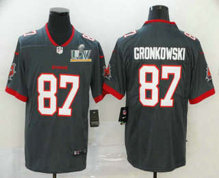 Men's Tampa Bay Buccaneers #87 Rob Gronkowski Grey 2021 Super Bowl LV Stitched Vapor Untouchable Stitched Nike Limited NFL Jersey