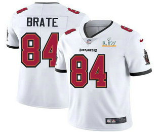 Men's Tampa Bay Buccaneers #84 Cameron Brate White 2021 Super Bowl LV Limited Stitched NFL Jersey