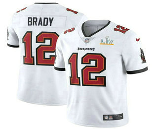 Men's Tampa Bay Buccaneers #12 Tom Brady White 2021 Super Bowl LV Vapor Untouchable Stitched Nike Limited NFL Jersey
