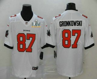 Men's Tampa Bay Buccaneers #87 Rob Gronkowski White 2021 Super Bowl LV Stitched Vapor Untouchable Stitched Nike Limited NFL Jersey