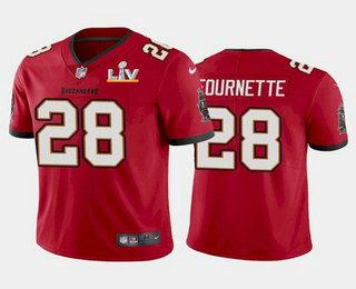 Men's Tampa Bay Buccaneers #28 Leonard Fournette Red 2021 Super Bowl LV Limited Stitched NFL Jersey