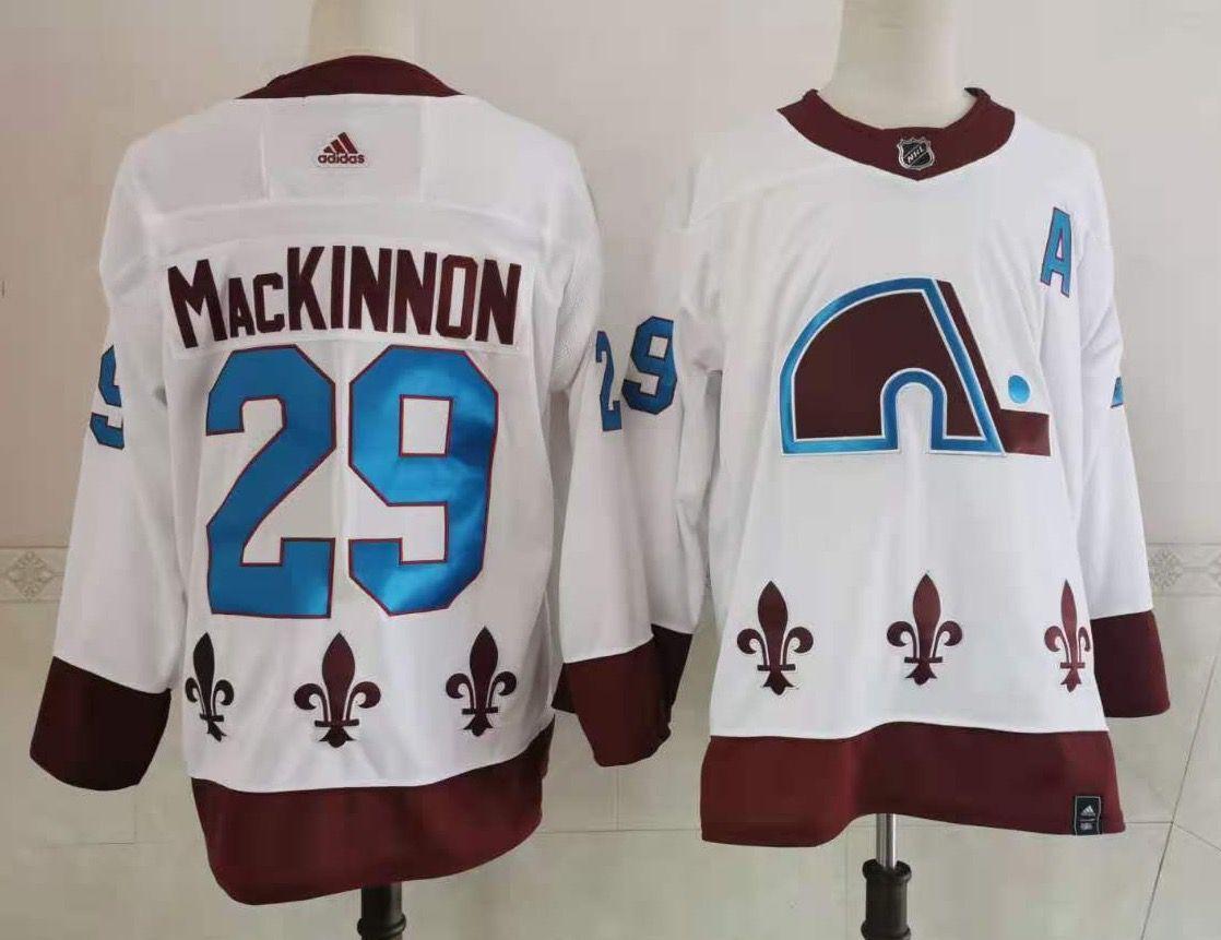 Men's Colorado Avalanche #29 Nathan MacKinnon White 2021 Retro Stitched NHL Jersey