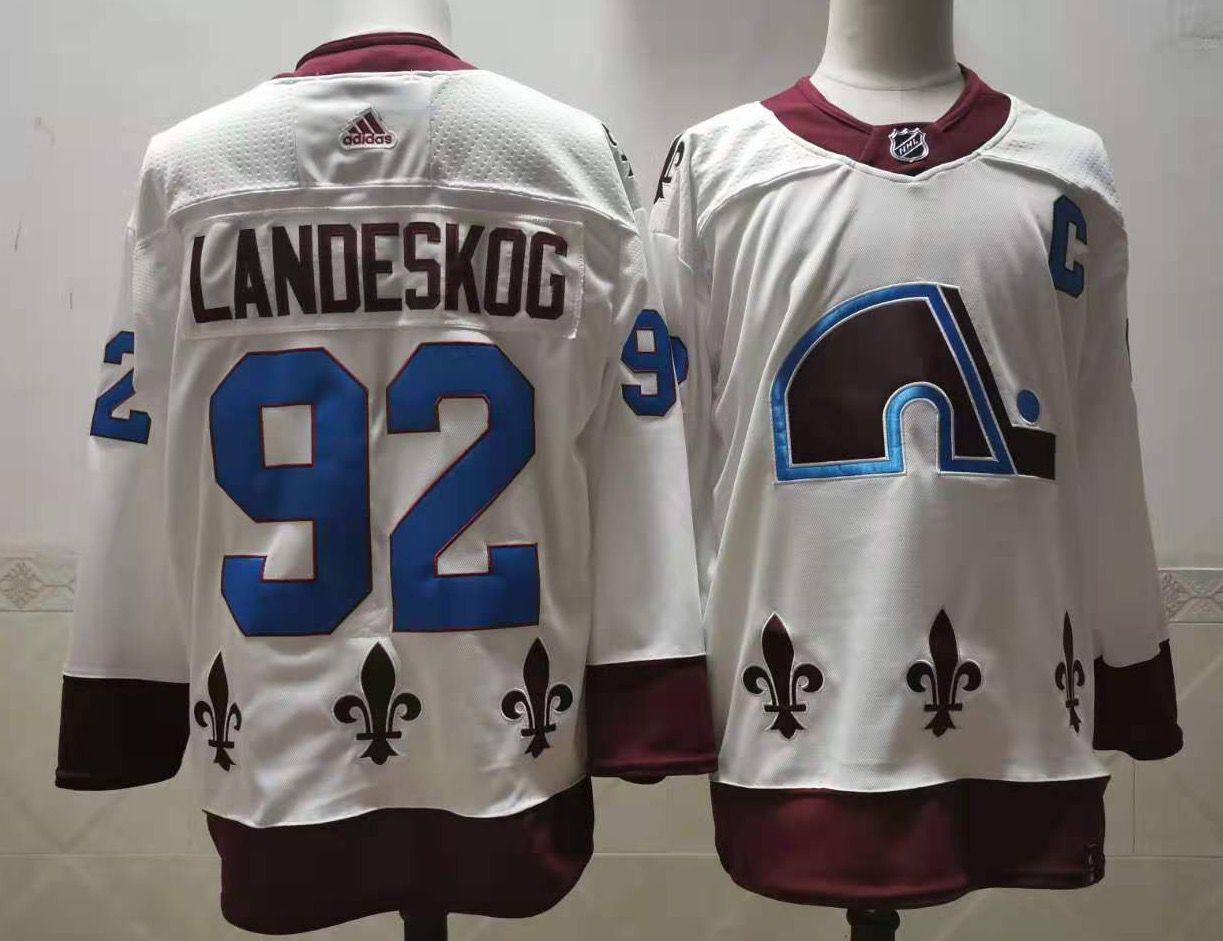 Men's Colorado Avalanche #92 Gabriel Landeskog White 2021 Retro Stitched NHL Jersey