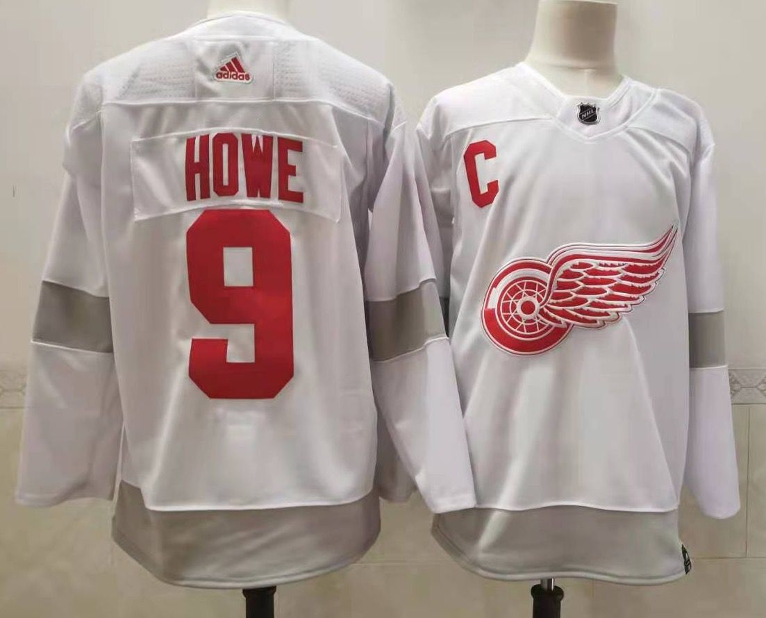 Men's Detroit Red Wings #9 Gordie Howe White Adidas 2020-21 Alternate Authentic Player NHL Jersey