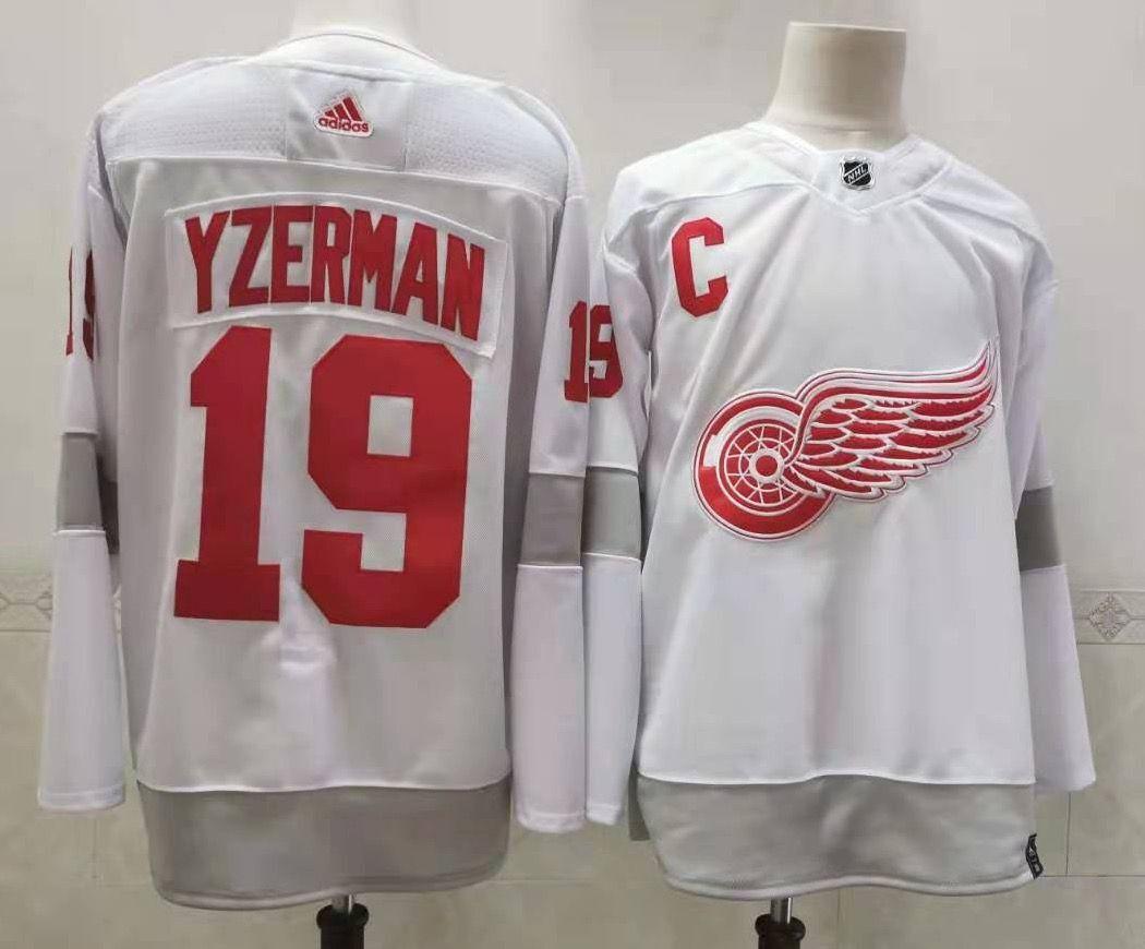 Men's Detroit Red Wings #19 Steve Yzerman White Adidas 2020-21 Alternate Authentic Player NHL Jersey