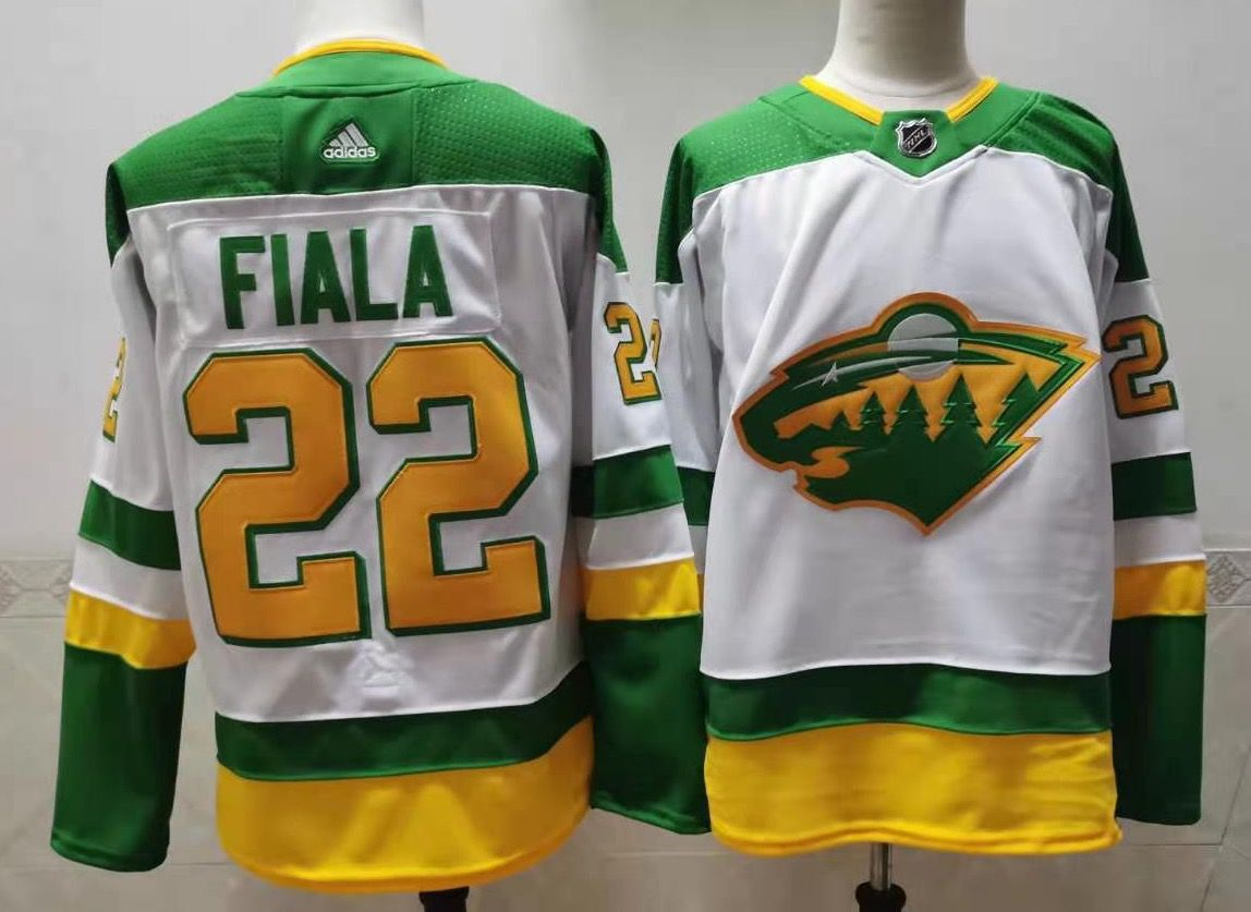 Men's Minnesota Wild #22 Kevin Fiala 2021 White Retro Stitched NHL Jersey