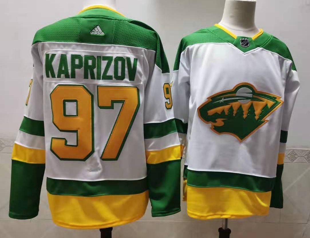 Men's Minnesota Wild #97 Kirill Kaprizov 2021 White Retro Stitched NHL Jersey