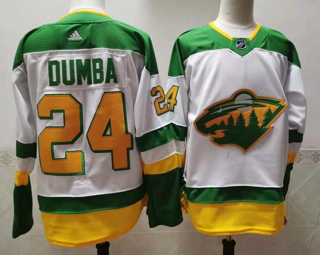 Men's Minnesota Wild #24 Matt Dumba 2021 White Retro Stitched NHL Jersey