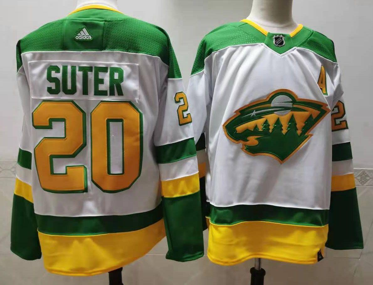 Men's Minnesota Wild #20 Ryan Suter 2021 White Retro Stitched NHL Jersey