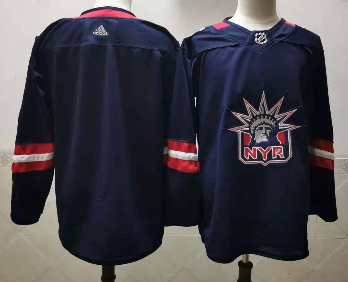 Men's New York Rangers Blank Navy Blue Adidas 2020-21 Stitched NHL Jersey